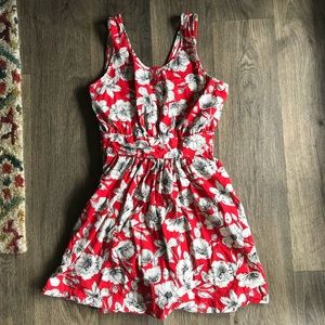 Red Floral Dress with Bow